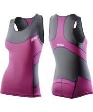 2XU WT2321A-CHR-UVT-XS Ladies trækul og ultraviolet kompression tri singlet - størrelse XS