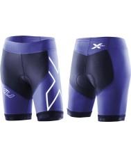 2XU WT2322B-NVY-NTB-XS Ladies navy og nordlys blå kompression tri shorts - størrelse XS