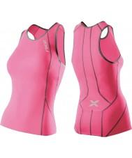 2XU WT2851A-SPK-CHC-L Ladies præstationer syntetisk pink tri singlet - størrelse l