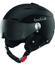 Bolle 31253 Backline visir soft sort og sølv skihjelm med grå visir - 59-61cm