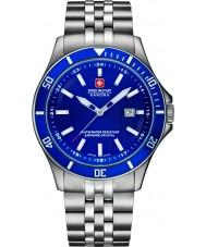 Swiss Military 6-5161-2-04-003 Mens flagskib sølv stållænke ur